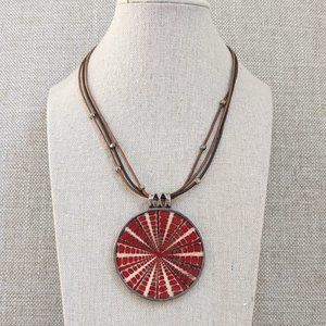 Silpada Sundial Pendant on Brown Leather Necklace